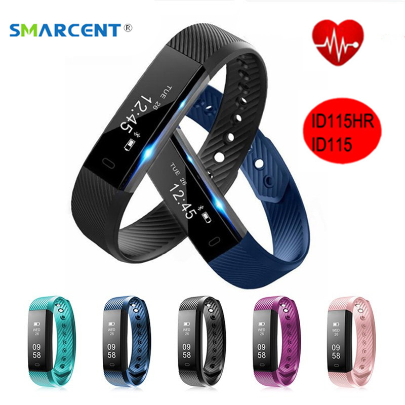 SMARCENT ID115HR Plus Heart Rate Monitor Bluetooth Smart Band ID115 Fitness Tracker Pedometer Smartband IP67 Waterproof