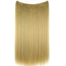 TOPREETY Heat Resistant B5 Synthetic Fiber 20″ 50cm 50g Silky Straight Elasticity Wire Halo Hair Extensions