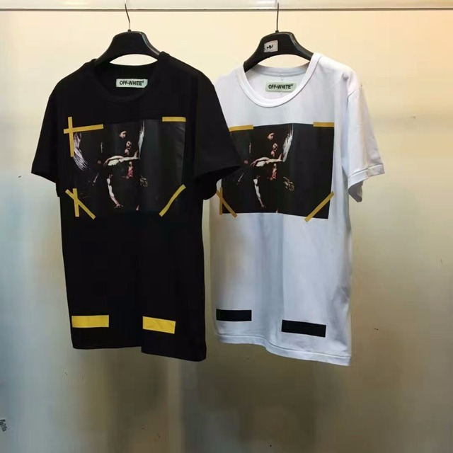 Best version 2016 winter off white 7 Opere classic caravaggio religion printed yellow brushed diagonals short sleeve t-shirt tee