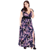 Dresses Big Size Clothing for Women Sexy V Neck Beach Tunic Split Long Dress Butterfly Floral 6XL Plus Size Ankle Length Dress