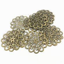 10Pcs Bronze Tone Flower Purse Bag Decoration Ornament Embelishment Filigree Metal Jewelry DIY Findings 6cm