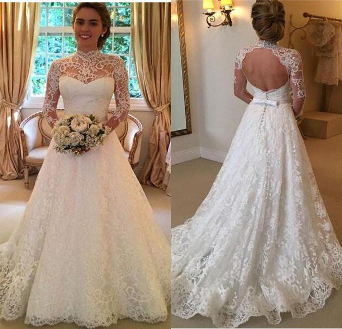 Free Shipping A Line High Collar Whole Lace Long Sleeve Wedding Dresses Keyhole Bow Back Sheer Neckline Wedding Gowns