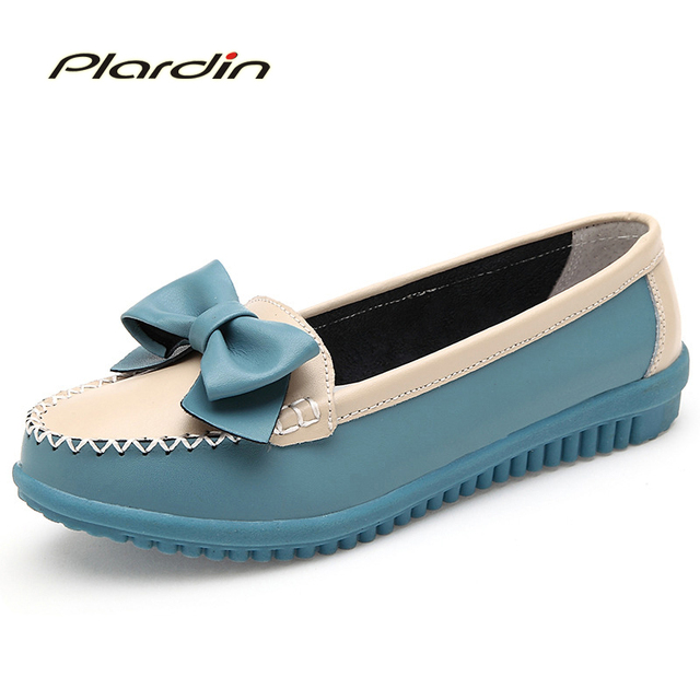 plardin 2017 Women Flat New Fashion Genuine Leather Women Shoes Woman Round Toe Slip On Bowtie Sweet Style Leisure Flats Shoe