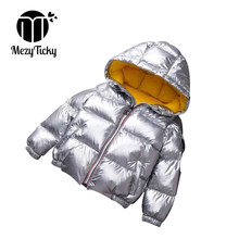 Winter Quality Boy Girls Silver Gold Fashion jacket Solid cotton Hooeded Coats Baby Children Warm Thicken Windproof down jackets