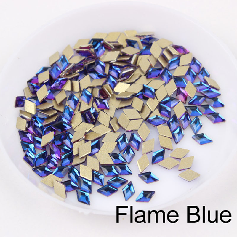 30/100 шт./лот ногтей Стразы 3x5 мм Flatback ромб с цветными камнями для 3D нейл-арта украшения - Цвет: Flame Blue