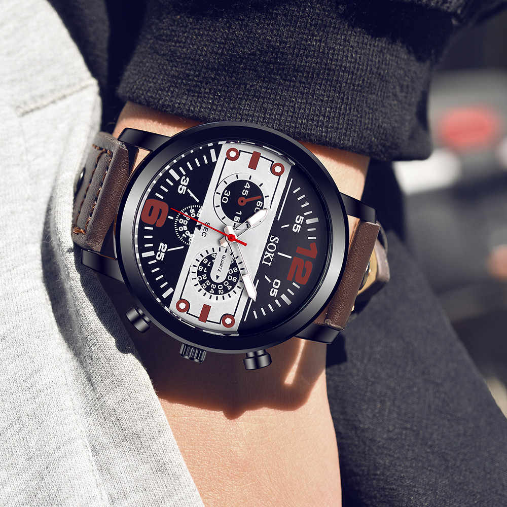 Heren horloge Paar Lederen Band Analoge Quartz Ronde Business Polshorloge Man horloges heren 2019 relogios masculinos HOT