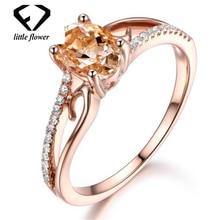 14K Rose Gold Oval Diamond Jewelry Anillos De Gemstone Anel Bizuteria and Wedding Rings Engagement Women