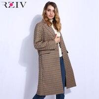 RZIV 2018 Fall Women coat loose oversized style and casual plaid coat pocket decoration long coat jacket