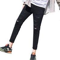 slim mid waist holes Men Jeans Stretch Destroyed Ripped Design Nine pants Fashion Korean Ankle Zipper Skinny Jeans For Man