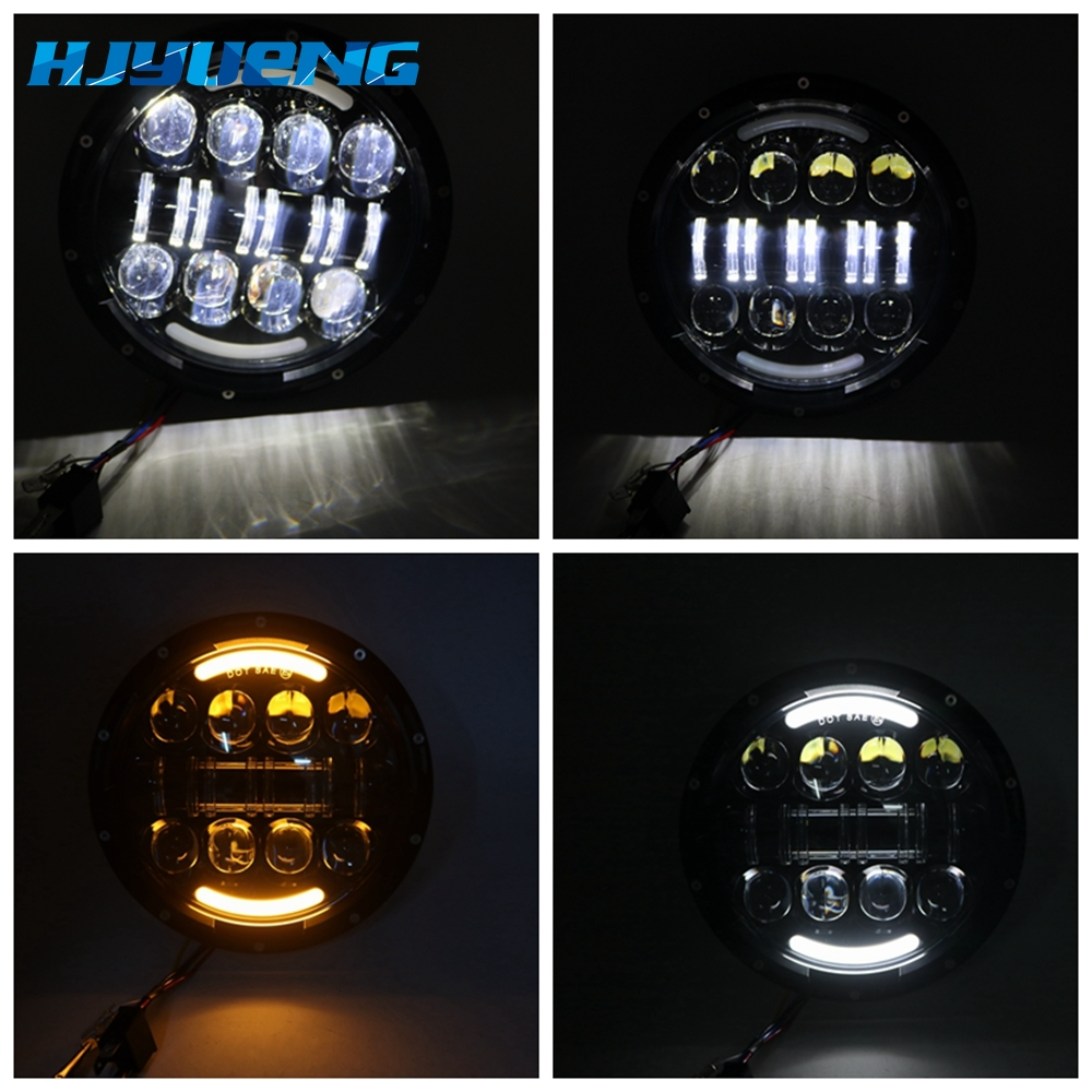 Image 3 - 7 inch LED Headlight Car Angel Eyes DRL Daytime Running Lights for Yamaha Jeep Wrangler Headlamp Car Motorcycle Accessories