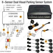 10-Color 8 Sensores Frente Retrovisor Do Carro Visual Vídeo Sensor de Estacionamento Sistema de Radar de Backup # J-2848