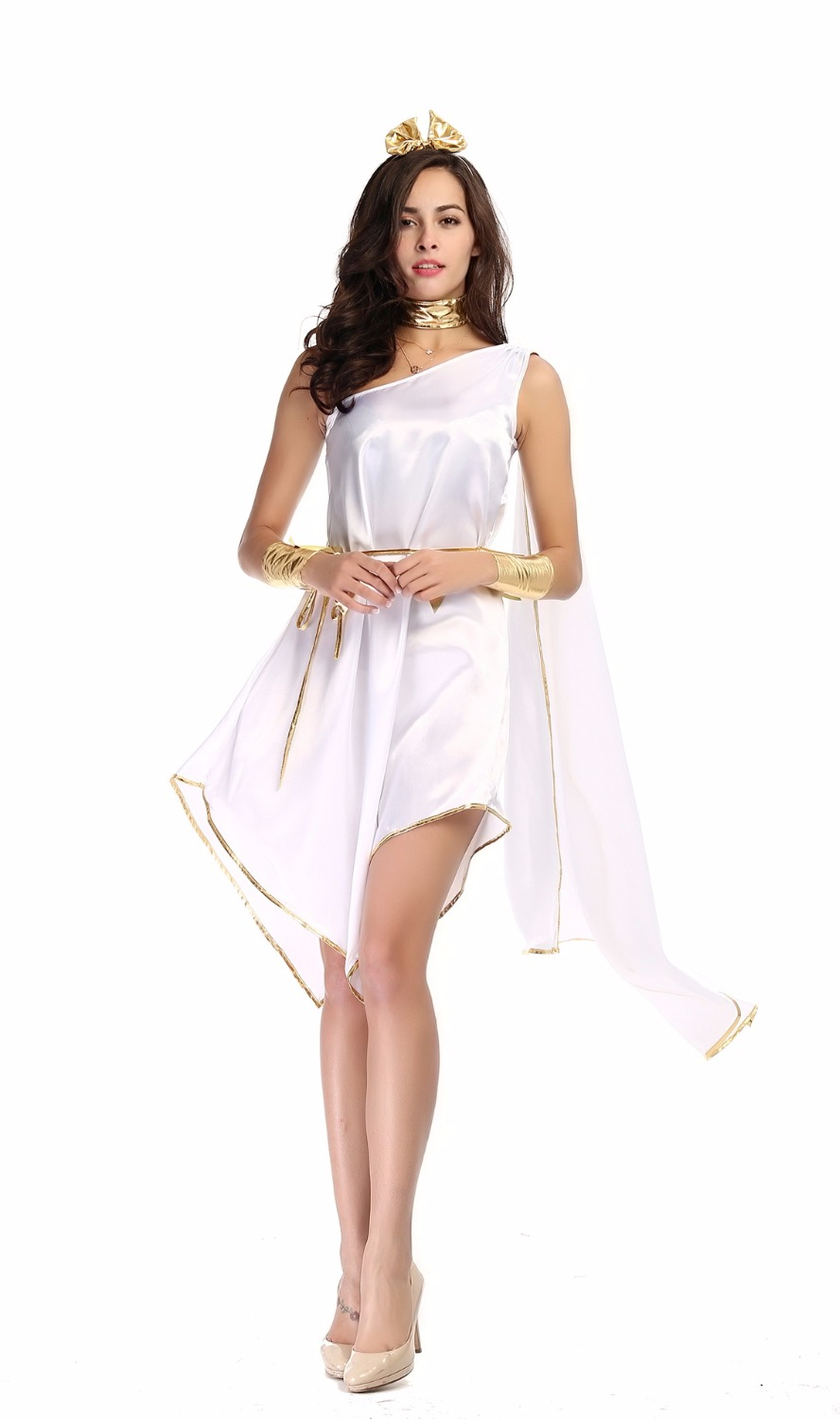 Halloween long dress For Women the adult woman Greek Goddess Cosplay Clothes Set White Loose Dress for party carnival