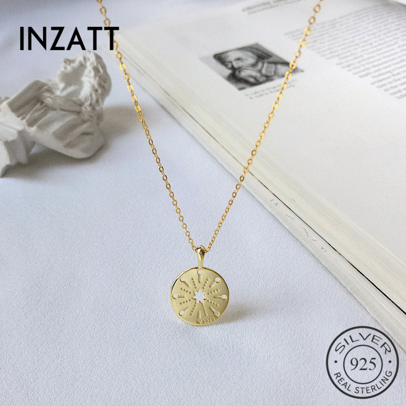 INZATT Real 925 Sterling Silver Geometric Round Pendant Necklace For Fashion Women Party Hollow Star Fine Jewelry Hiphop GiftINZATT Real 925 Sterling Silver Geometric Round Pendant Necklace For Fashion Women Party Hollow Star Fine Jewelry Hiphop Gift
