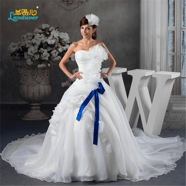 Free Shipping Elaborate Le Handmade Flower Strapless Ball Gown Chapel Train Zipper White Wedding Dress With