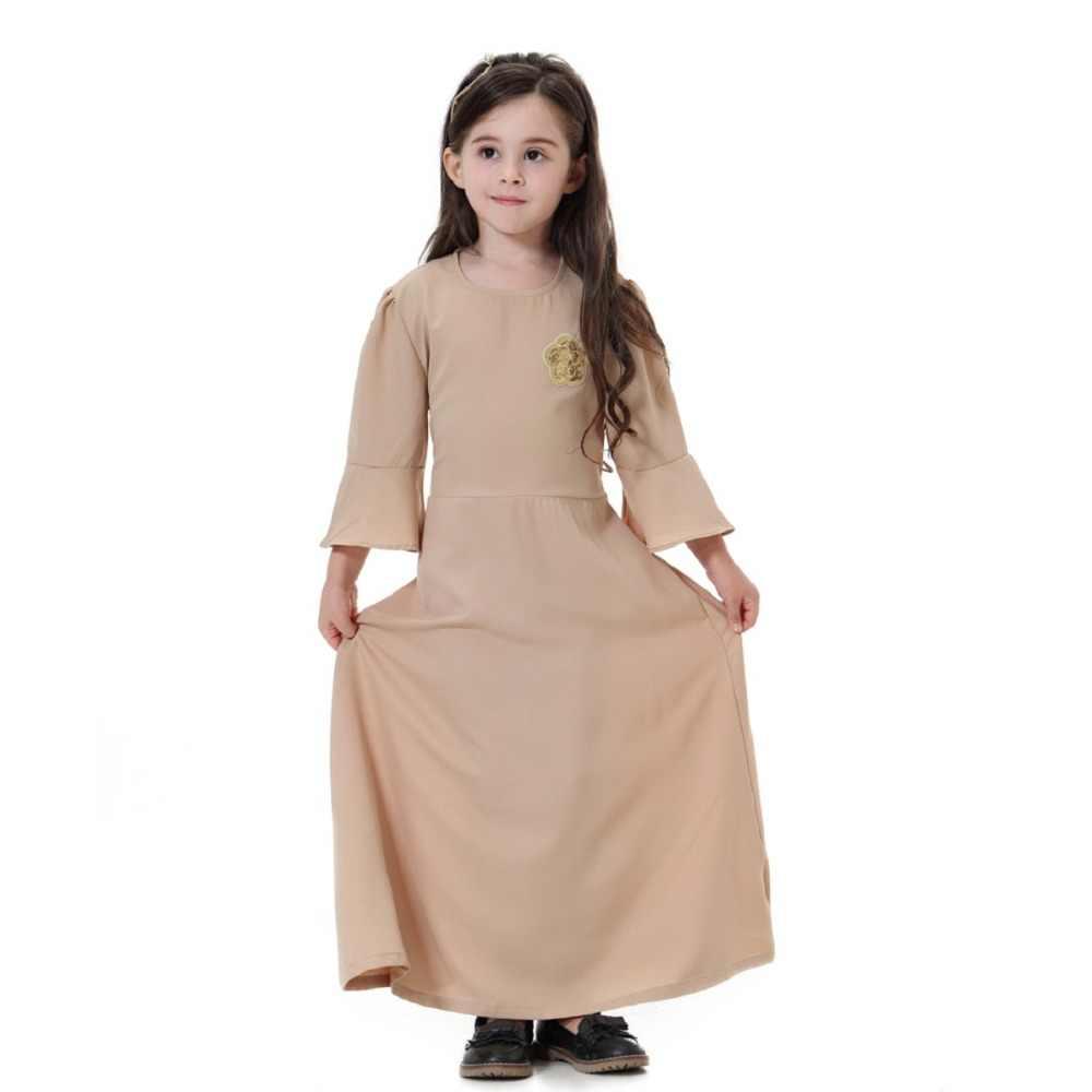 a5a70ba1a52 ... Cute Muslim Children Abaya Kids Long Dresses Girl Maxi Dress Robe Gowns  Kimono Jubah Ramadan Middle ...