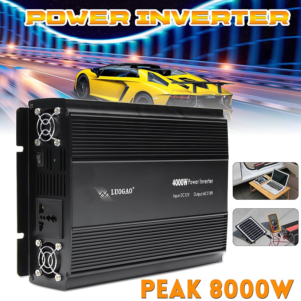 цена на Car Inverter 12V 220V/110V 4000W Power Inverter Peak- 8000W voltage transformer Adapter Charger Square Wave Modified Sine Wave