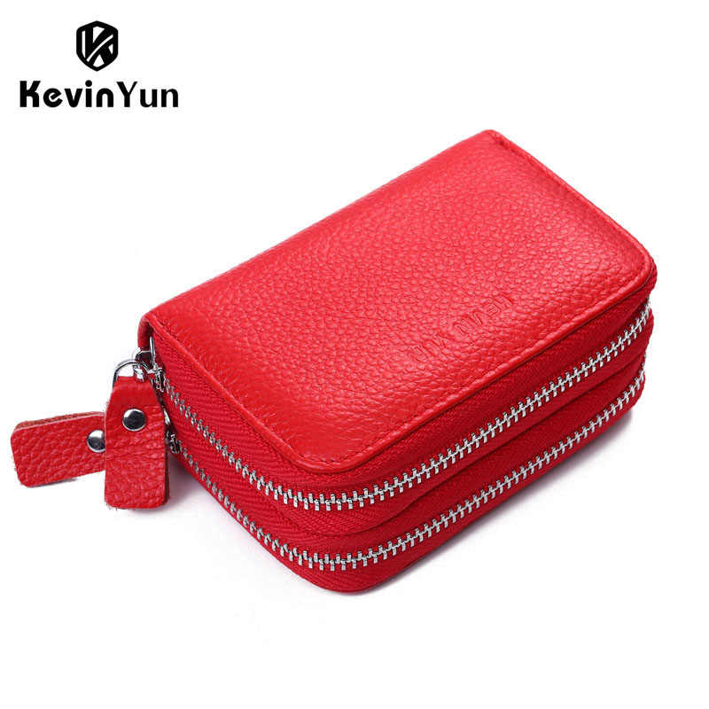 KEVIN YUN fashion designer brand women credit card holder wallet genuine leather double zipper large capacity lady card case
