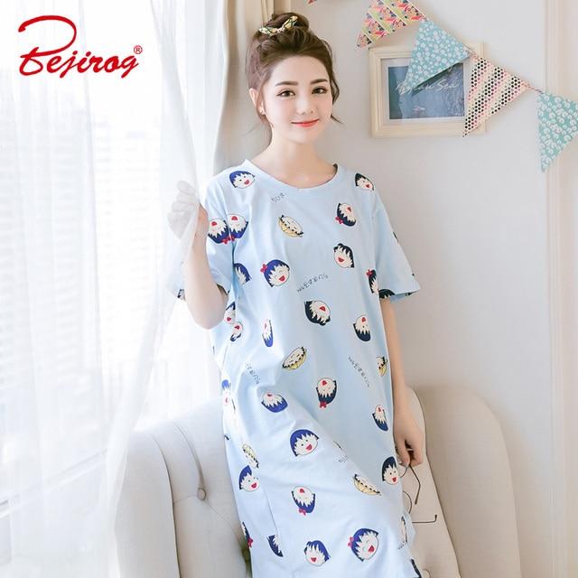 Bejirog cute women nightgown short sleeved sleepwear cotton sleepshirt sleep  clothing female pyjamas girl nightdress summer suit d69cc809e