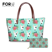 a98a3166dc1e FORUDESIGNS Women Bag Luxury Handbags Women Bags Designer Bull Terrier  Printing Ladies Handbags Wallets and Bags