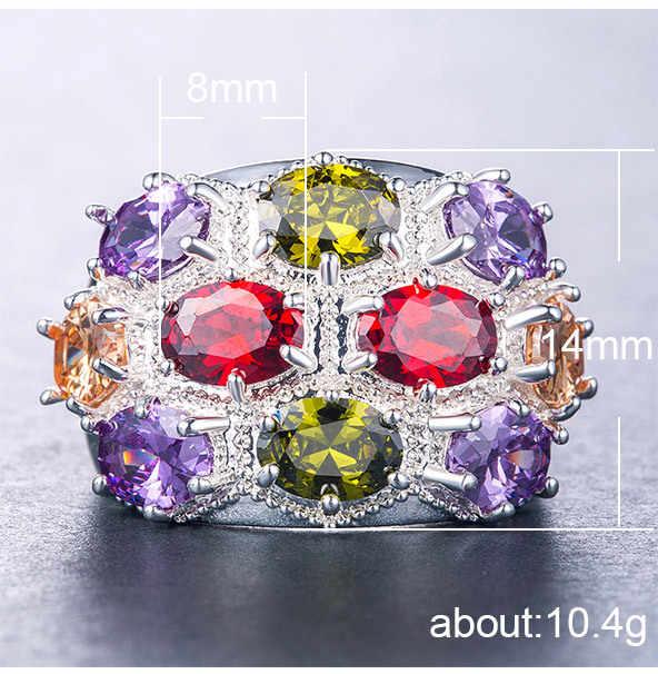 Rose gold แหวนแหวนทับทิม Topaz คริสตัล opal Turquoise amethyst สีสันผสมสี zircon Plated แหวนเงิน 925 B1181