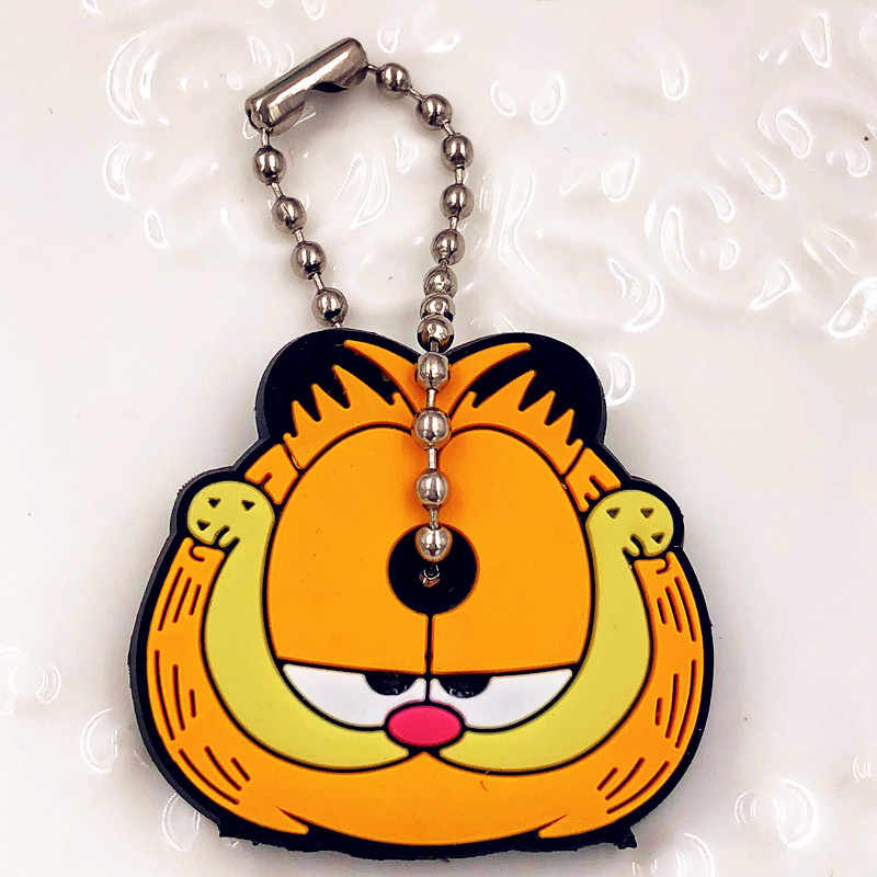 Novo Garfield 7 Pcs Coruja Chaveiro Moda Jóias Cadeia Lindo Chave Tampa Chave de Silicone Tampas Chave Anel Titular Porte Clef