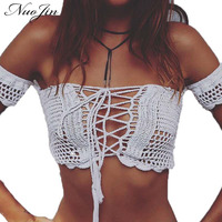 NuoJin Sexy Lace Up Knitted Crochet White Crop Tops Beachwear Women 90 S Girls Casual Off