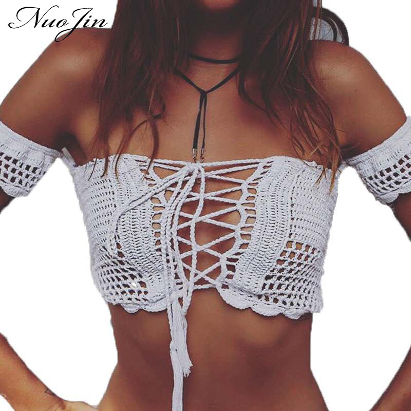NuoJin Off Shoulder Sexy Knitted Crochet White Crop Top Women Brandy Melville Beachwear Lace Up Casual Tank Tops Cropped Bustier