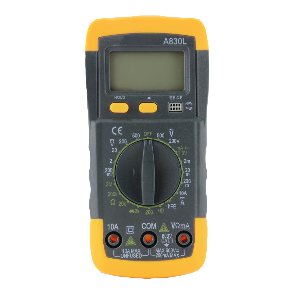 Portable Yellow Digital Display Multimeter Backlight LCD Screen Multifunction Use Voltmeter With Support Stand
