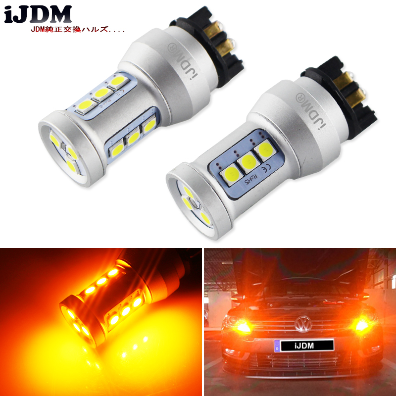 iJDM PW24W LED Amber Yellow Error Free PWY24W LED Bulbs For Audi A3 A4 A5 Q3 VW MK7 Golf CC Ford Fusion Front Turn Signal Lights hid white 15 smd pw24w pwy24w led bulbs for audi bmw vw turn signal or drl light