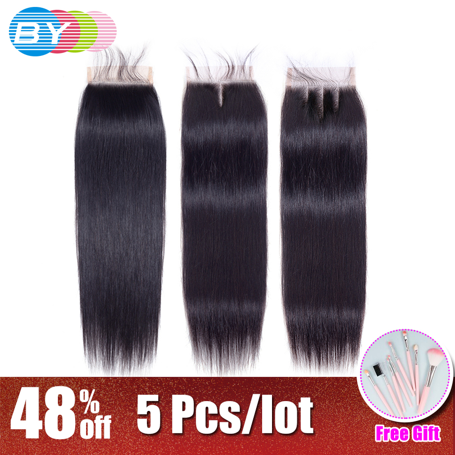 BY Lace Closure Brazilian Natural Color 4 4 Free Middle Three Part Remy Straight Human Hair