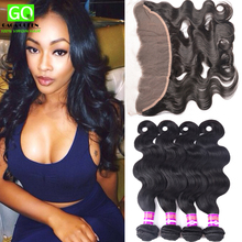 Brazilian Virgin Hair 7A 13×4 Frontal With 4 Human Hair Weave Bundles Ear To Ear Lace Frontal Closure With Bundles Body Wave