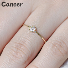 Canner Delicate Small Crystal Zircon Stone Rings Fashion Gold Color Promise Engagement For Women Jewelry