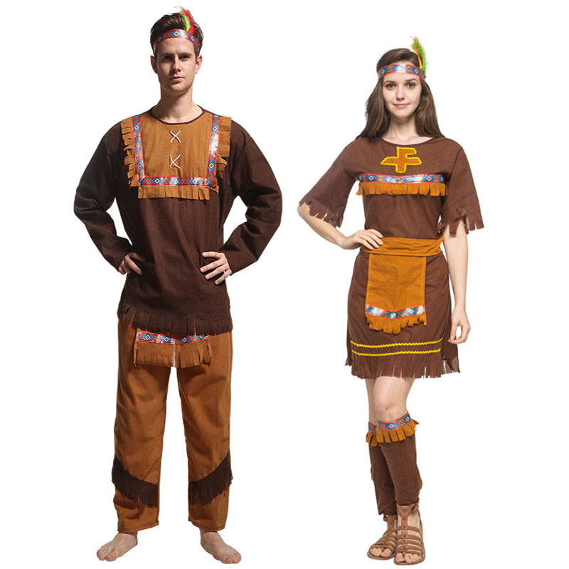 Umorden Adult Couple Indian Native Clothes Women Men Indigenous Primitive Costume Tassel Halloween Carnival Party Fancy Dress image