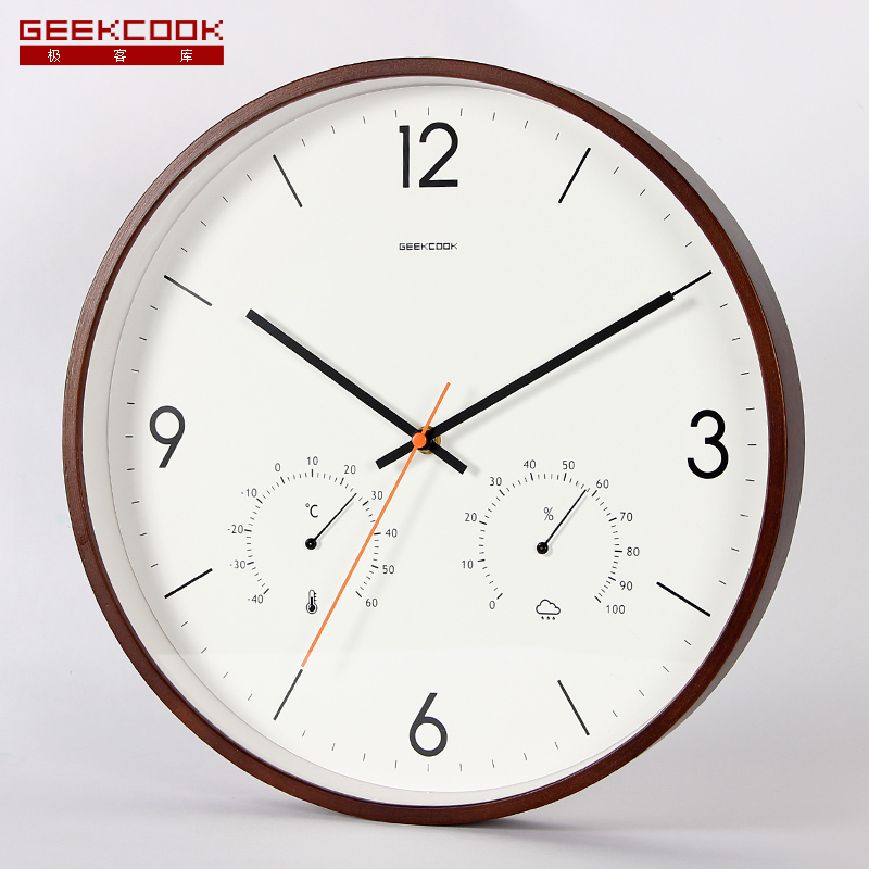 14 Inch Wood Geekcool Big Watch Library Wooden Watch Bedroom Quartz Wall Clock Room Temperature Hygrometer Needle Wall Clock