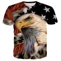 PLstar Cosmos 2017 Newest Harajuku T shirt USA America Flag Eagle 3d Printed Short sleeve Unisex Hipster summer t shirt Tops