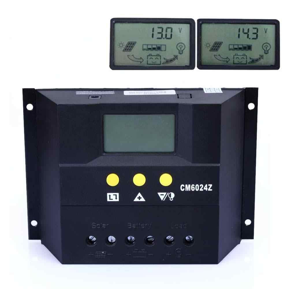 Controlador de carga Solar PWM 60A 12 V 24 V LCD pantalla regulador de carga Solar Control Remoto + 5 pares MC4 m/F Connetors