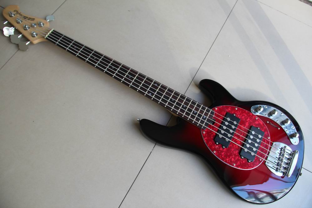 Free Shipping New Musicman Ernie ball 5 string Ray 5 string electric bass guitar in Red best quality Bass guitar 120315