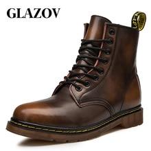 GLAZOV/Популярные Брендовые мужские ботинки; осенне-зимняя обувь из натуральной кожи; мужские мотоциклетные ботильоны; пара оксфордских туфель; большие размеры 35-46