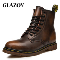 GLAZOV Hot Brand Men's Boots Genuine Leather Winter Autumn Shoes Motorcycle Mens Ankle Boot Couple Oxfords Shoes Big Size 35 46