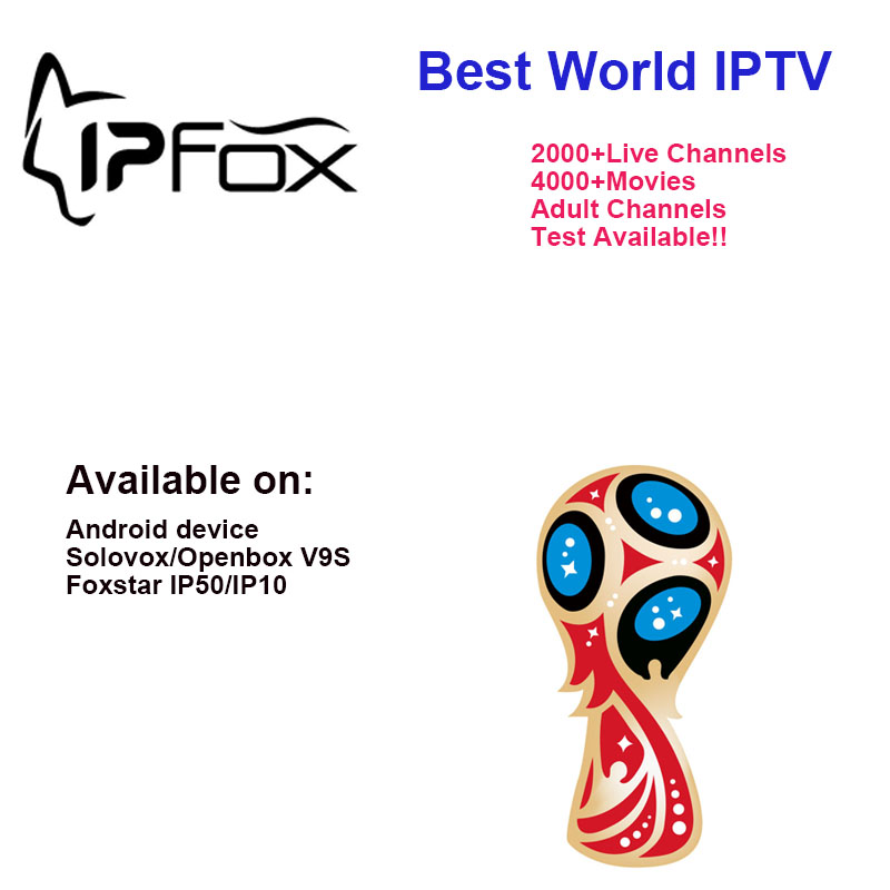 2018 Hot Sale IPFOX IPTV Use On FOXSTAR IP50/ IP10 Android Box V9S Box Arabic French Spain UK USA Turkey Channels 12 Months(China)