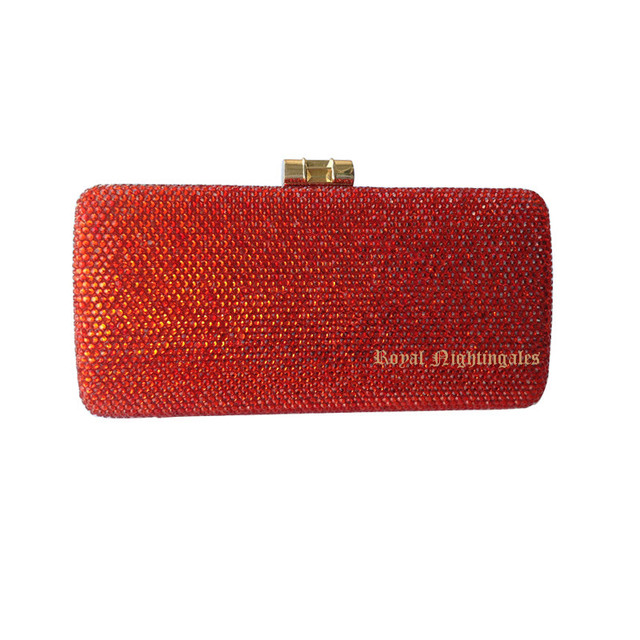 Red Purses With Rhinestones Crystal Evening Clutch Bags