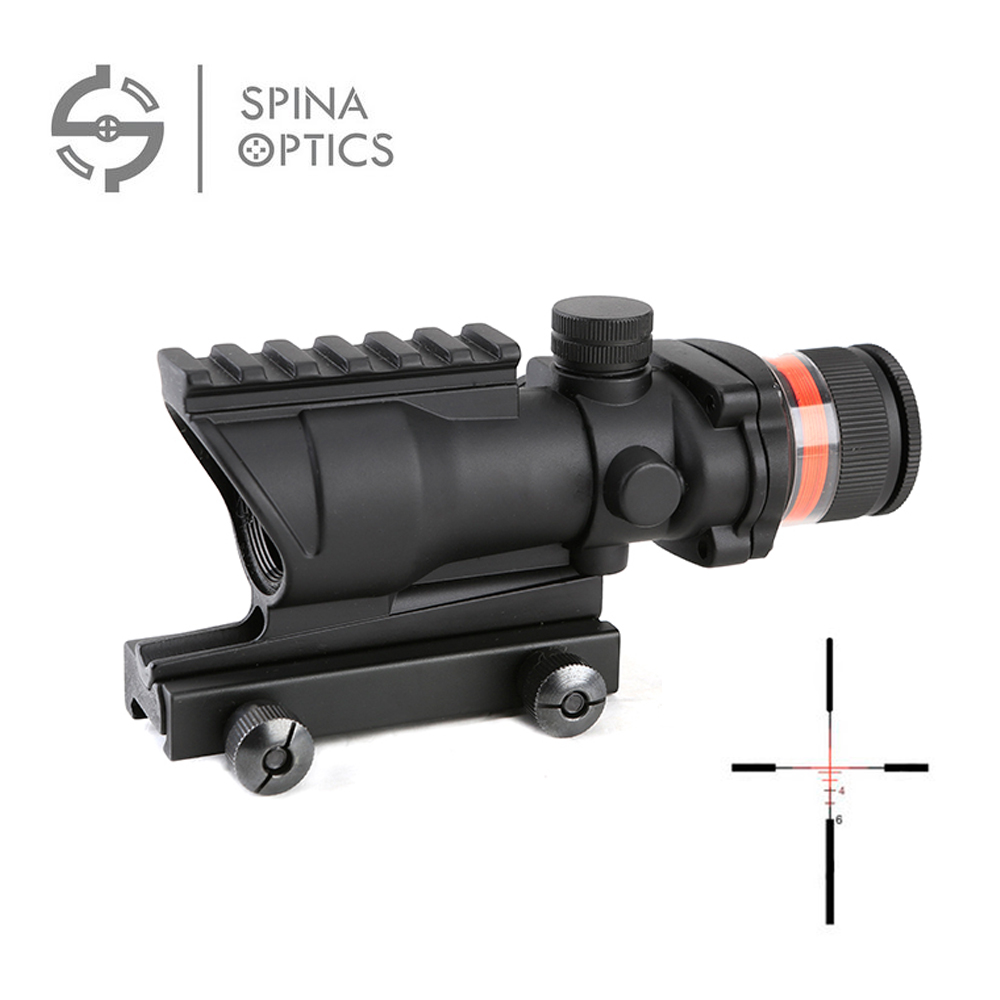 SPINA OPTICS Tactical acog style 4x32 rifle scope Red Optical fiber acog style Hunting shooting