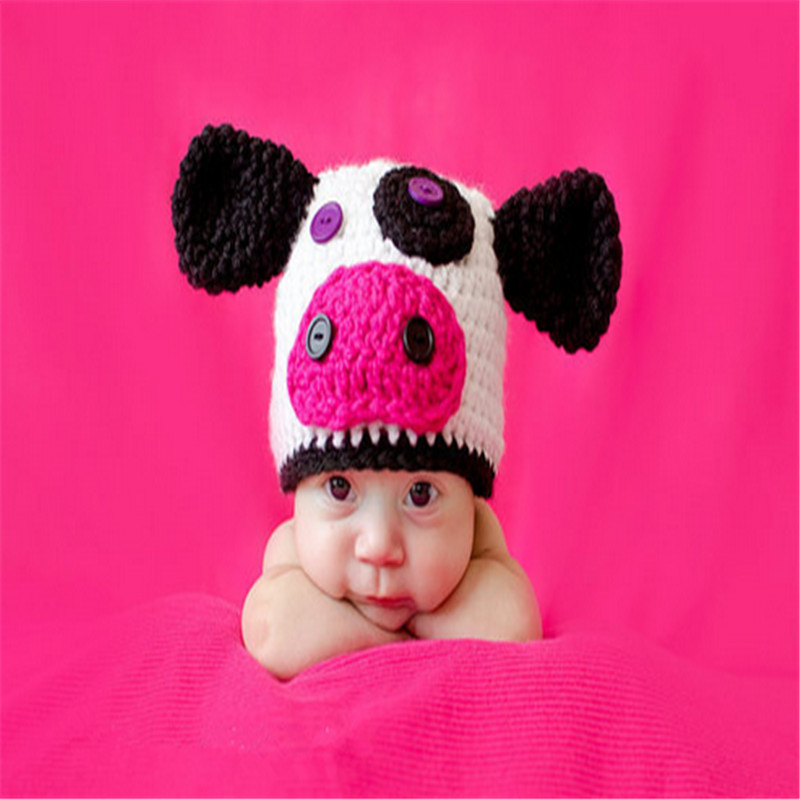 Newborn Baby Photography Props Baby Boy Girl Knitted Crochet Hat Beanie Infant Cow Shape Animal Cap Lovely Handmade Outfits