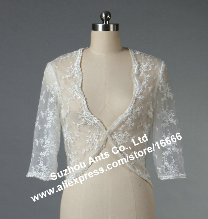 J1003 Formal Long Sleeve White Jacket Blazer Bridal Lace