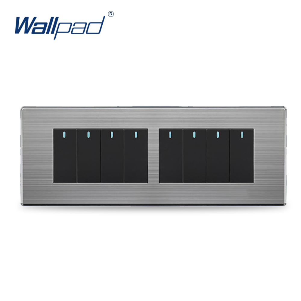 8 Gang 2 Way Hot Sale China Manufacturer Wallpad Push Button One-Side Click Luxury Wall Light Switch hot sale wallpad luxury 45a wall switch goats brown leather air condition push button 45a wall switch with led free shipping