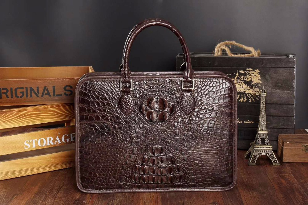 luxury 100% genuine real crocodile leather head skin men business bag young men laptop bag brefcase free ship brown black color luxury 100
