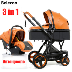 Belecoo baby stroller 3 in 1 cortical bi-directional high-view shock absorber baby strollers2 in 1