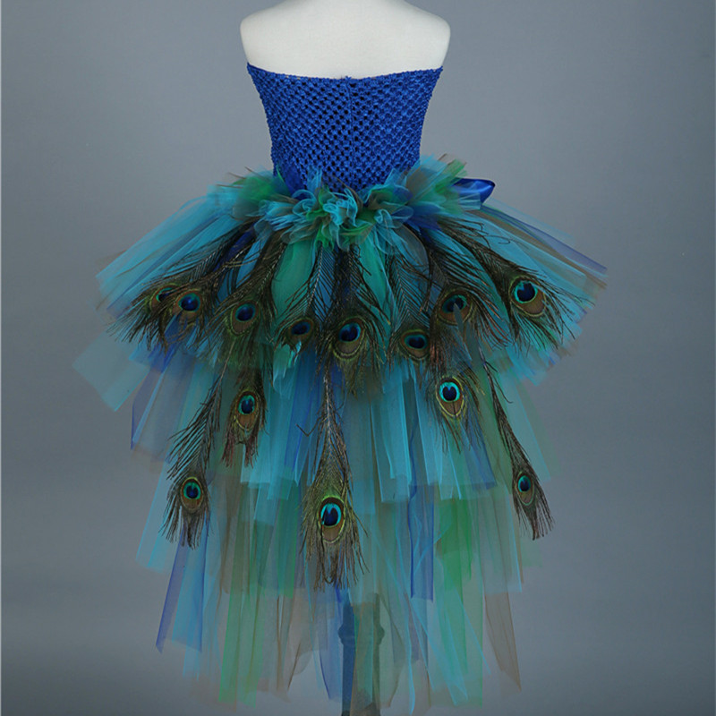 Girls Pageants Feathers Peacock Dress Pretty Baby Kids Party Tulle Tutu Dress For Evening Birthday Performance