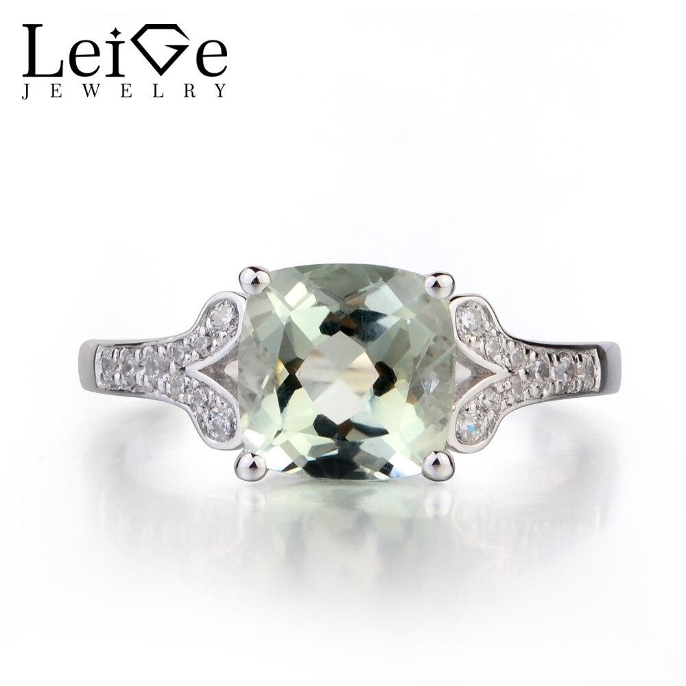 Leige bijoux naturel vert améthyste solide 925 bague en argent Sterling Fine pierre gemme coussin coupe bague de fiançailles pour les femmes
