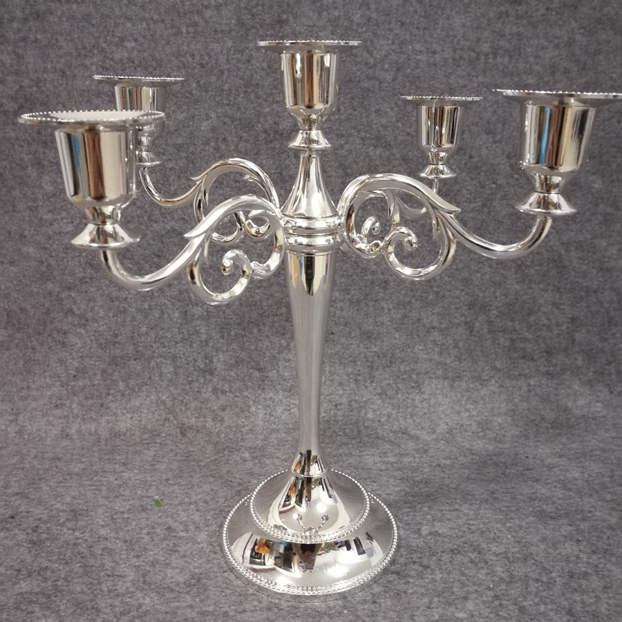 Free shiping Silver color metal candle holder 5 arms ...